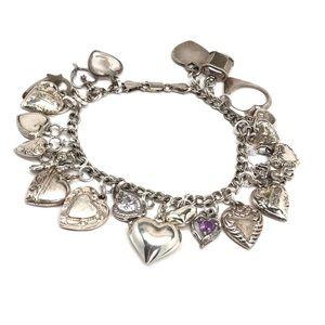 Vintage Sterling Puffy Heart Love Charm Bracelet